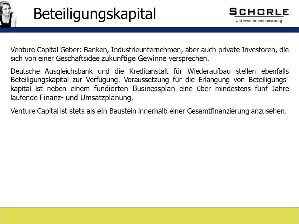 Venture Capital Geber: Banken, Industrieunternehmen, aber auch private Investoren, die sich von einer Geschäftsidee zukünftige Gewinne versprechen.