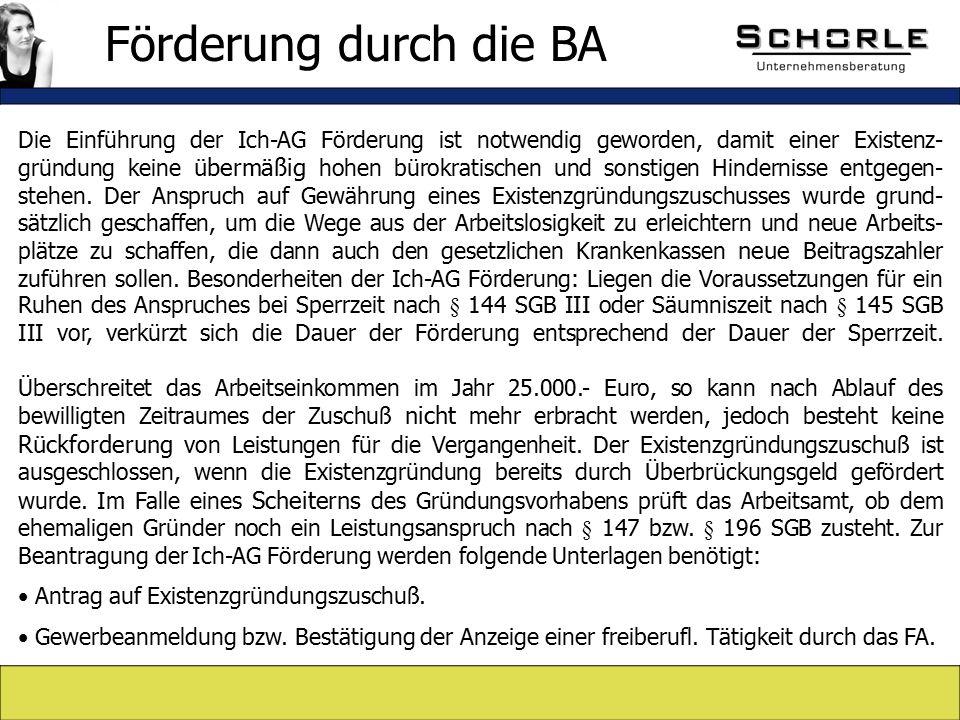 Die Einführung der Ich-AG Förderung ist notwendig geworden, damit einer Existenz- gründung keine übermäßig hohen bürokratischen und sonstigen Hindernisse entgegen- stehen.