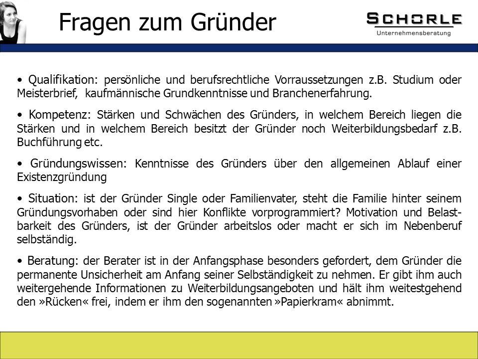 Qualifikation: persönliche und berufsrechtliche Vorraussetzungen z.B.