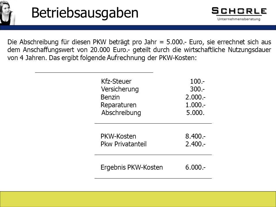 Die Abschreibung für diesen PKW beträgt pro Jahr = 5.000.- Euro, sie errechnet sich aus dem Anschaffungswert von 20.000 Euro.- geteilt durch die wirtschaftliche Nutzungsdauer von 4 Jahren.