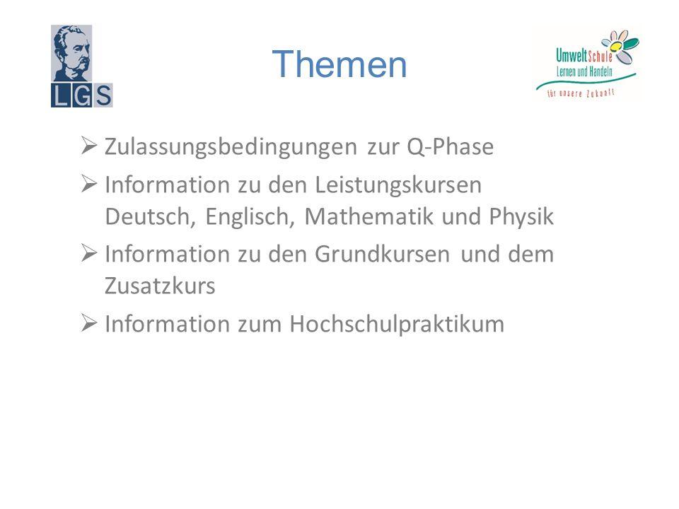 Themen  Zulassungsbedingungen zur Q-Phase  Information zu den Leistungskursen Deutsch, Englisch, Mathematik und Physik  Information zu den Grundkursen und dem Zusatzkurs  Information zum Hochschulpraktikum