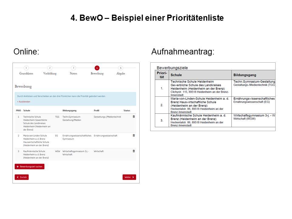 4. BewO – Beispiel einer Prioritätenliste Online:Aufnahmeantrag: