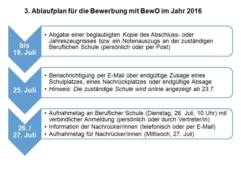 3. Ablaufplan für die Bewerbung mit BewO im Jahr 2016 bis 19. Juli Abgabe einer beglaubigten Kopie des Abschluss- oder Jahreszeugnisses bzw. ein Noten
