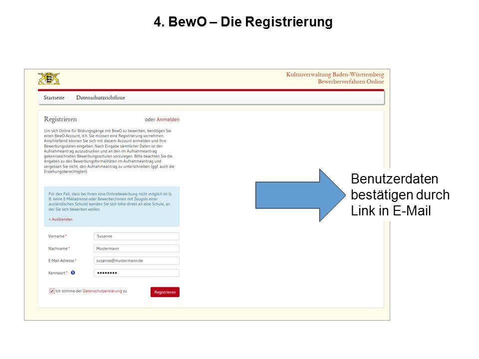 4. BewO – Die Registrierung Benutzerdaten bestätigen durch Link in E-Mail