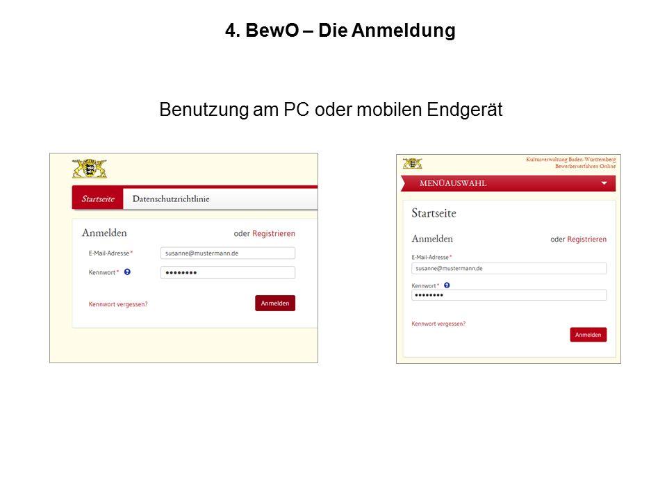 4. BewO – Die Anmeldung Benutzung am PC oder mobilen Endgerät