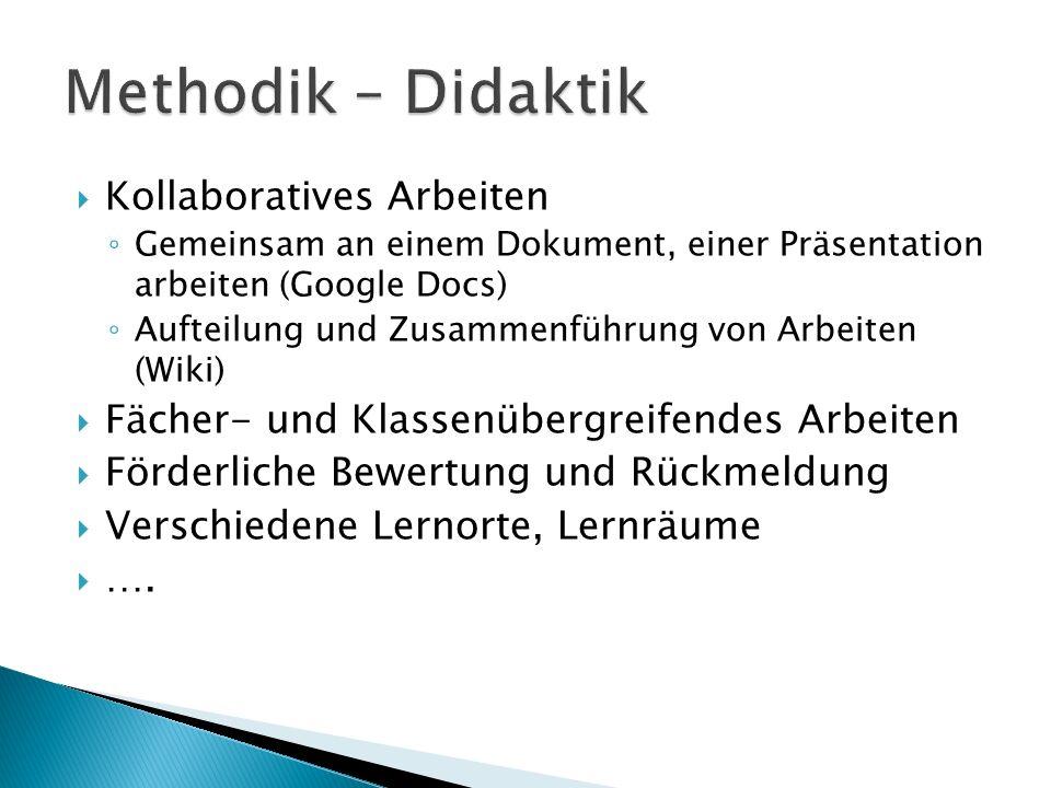  Kollaboratives Arbeiten ◦ Gemeinsam an einem Dokument, einer Präsentation arbeiten (Google Docs) ◦ Aufteilung und Zusammenführung von Arbeiten (Wiki