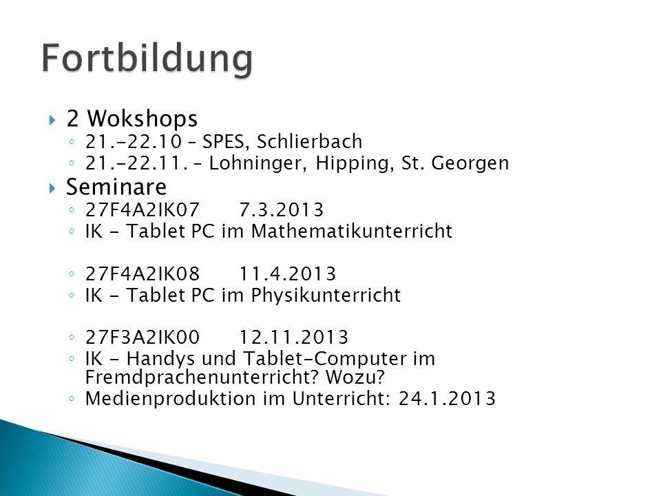 2 Wokshops ◦ 21.-22.10 – SPES, Schlierbach ◦ 21.-22.11. – Lohninger, Hipping, St. Georgen  Seminare ◦ 27F4A2IK077.3.2013 ◦ IK - Tablet PC im Mathem
