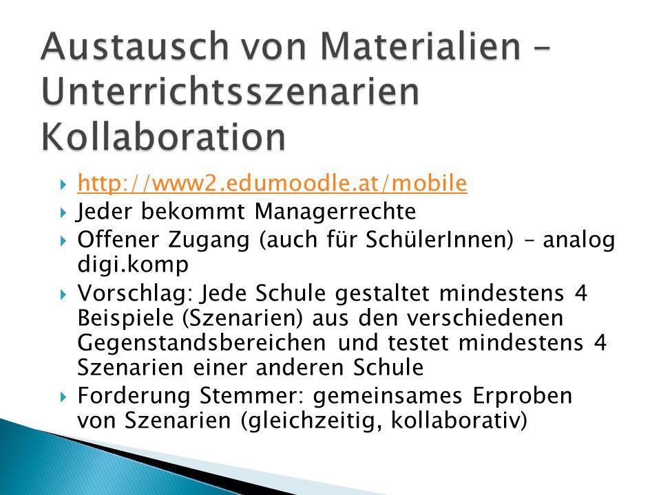  http://www2.edumoodle.at/mobile http://www2.edumoodle.at/mobile  Jeder bekommt Managerrechte  Offener Zugang (auch für SchülerInnen) – analog digi