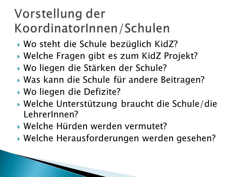  Wo steht die Schule bezüglich KidZ?  Welche Fragen gibt es zum KidZ Projekt?  Wo liegen die Stärken der Schule?  Was kann die Schule für andere B