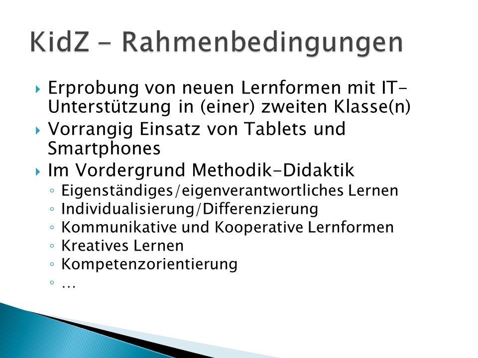  Erprobung von neuen Lernformen mit IT- Unterstützung in (einer) zweiten Klasse(n)  Vorrangig Einsatz von Tablets und Smartphones  Im Vordergrund M