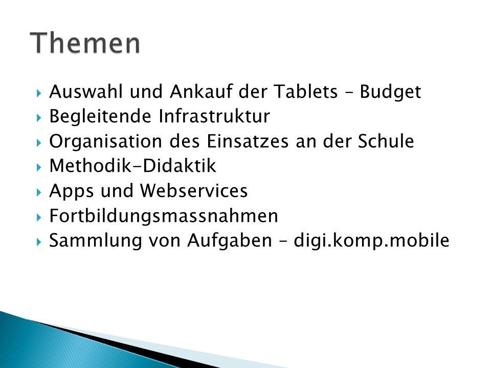  Auswahl und Ankauf der Tablets – Budget  Begleitende Infrastruktur  Organisation des Einsatzes an der Schule  Methodik-Didaktik  Apps und Webser