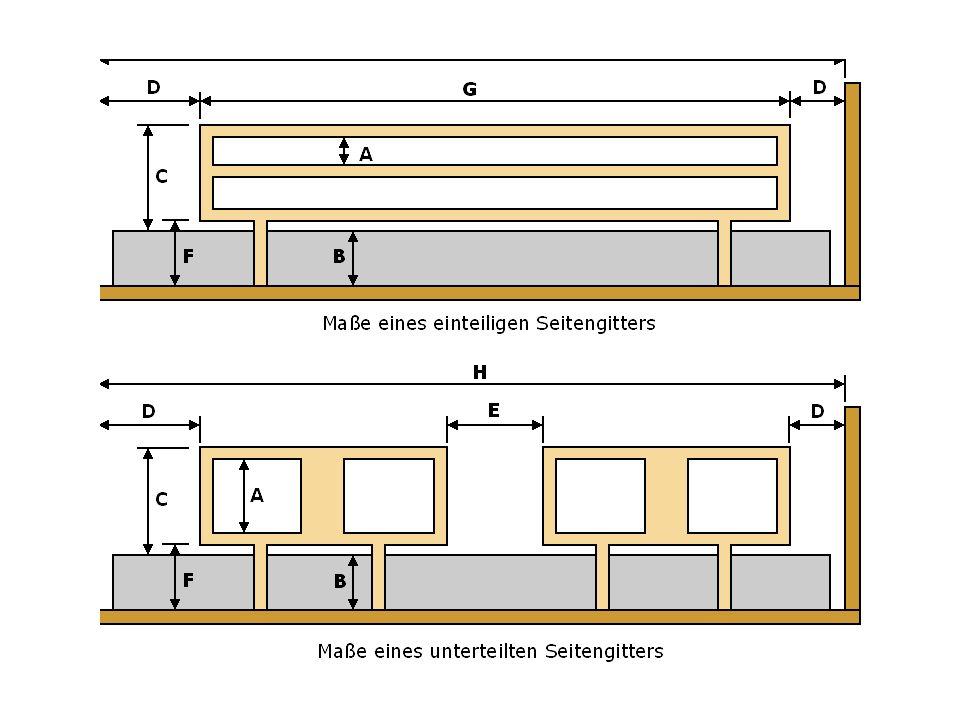 Bezeichnung Maße Anforderung in mm A Das größte Maß in mindestens einer Richtung zwischen Bestandteilen des Seitengitters/Haltegriffs in allen normal verwendeten Positionen.
