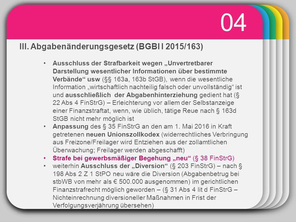 """WINTER Template 04 III. Abgabenänderungsgesetz (BGBl I 2015/163) Ausschluss der Strafbarkeit wegen """"Unvertretbarer Darstellung wesentlicher Informatio"""