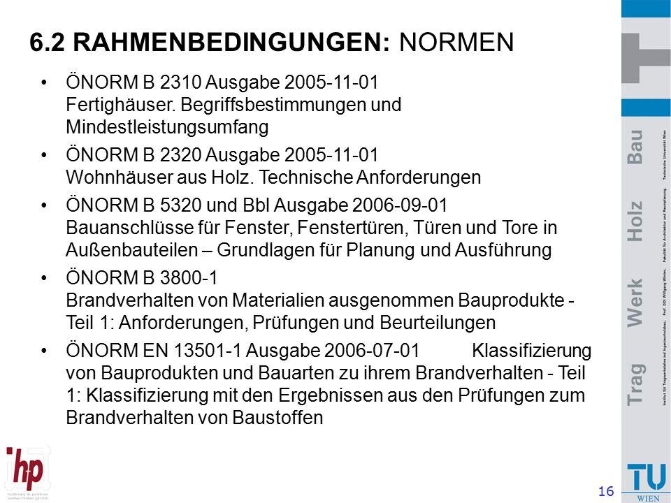 16 6.2 RAHMENBEDINGUNGEN: NORMEN ÖNORM B 2310 Ausgabe 2005-11-01 Fertighäuser.