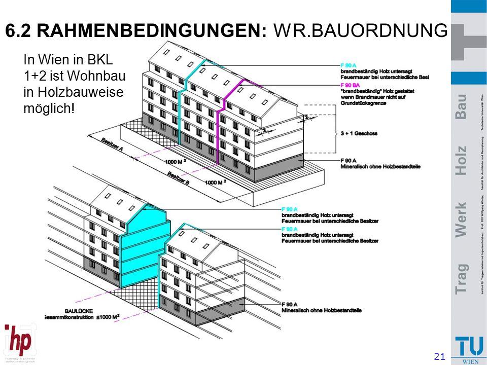 21 6.2 RAHMENBEDINGUNGEN: WR.BAUORDNUNG In Wien in BKL 1+2 ist Wohnbau in Holzbauweise möglich!