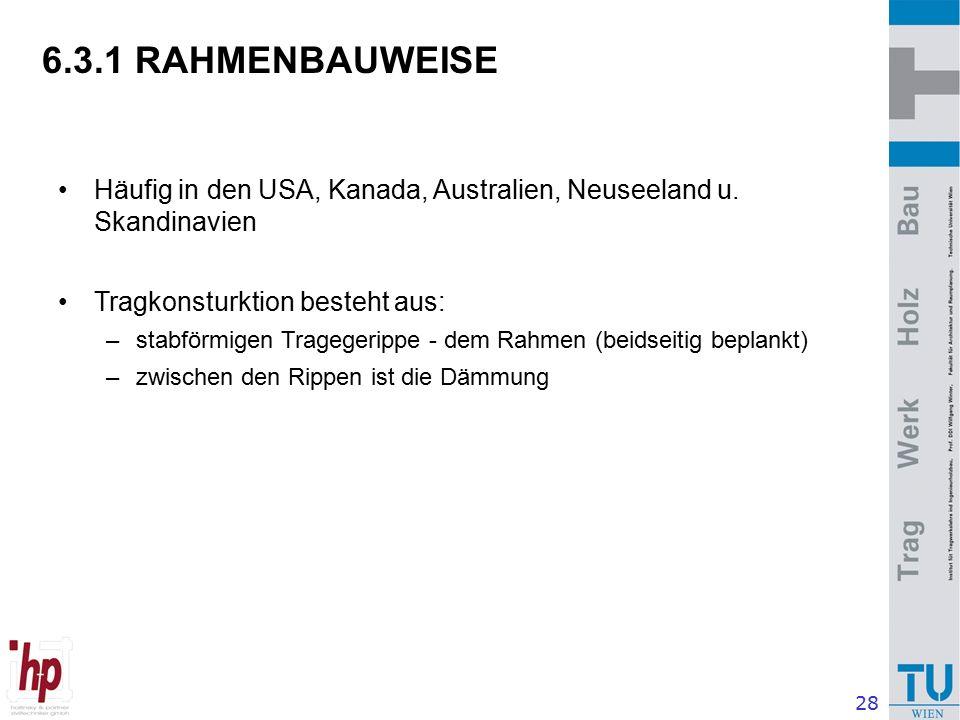 28 6.3.1 RAHMENBAUWEISE Häufig in den USA, Kanada, Australien, Neuseeland u.