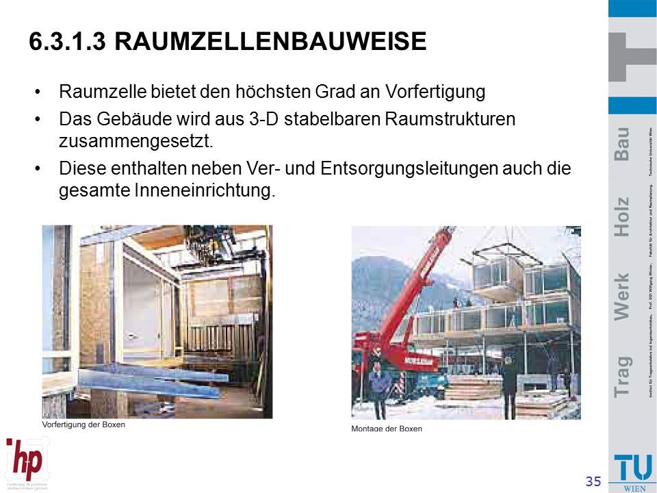 35 6.3.1.3 RAUMZELLENBAUWEISE Raumzelle bietet den höchsten Grad an Vorfertigung Das Gebäude wird aus 3-D stabelbaren Raumstrukturen zusammengesetzt.