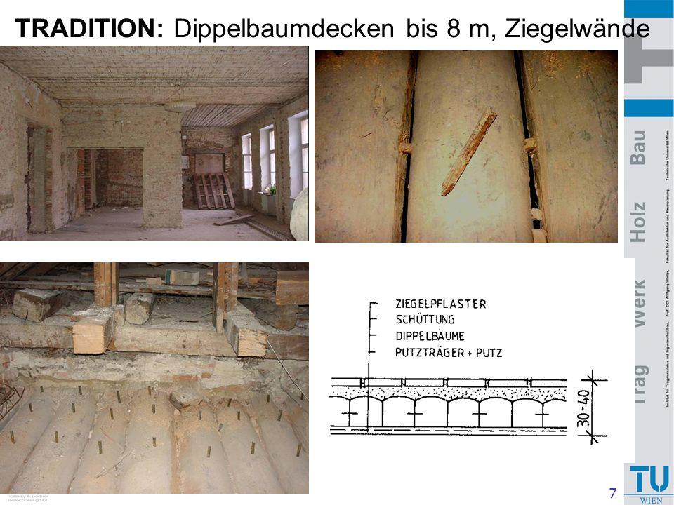 8 TRADITION: Dippelbaumdecke - Sanierung Eine neue Stahlbetondecke wäre 4 x so schwer --> Auswirkung auf Fundamente Verstärkung mit Aufbetonschichte 6 - 8 cm über Scheitel Verbesserter Schallschutz Beton - Druckzone Holz - Zugzone