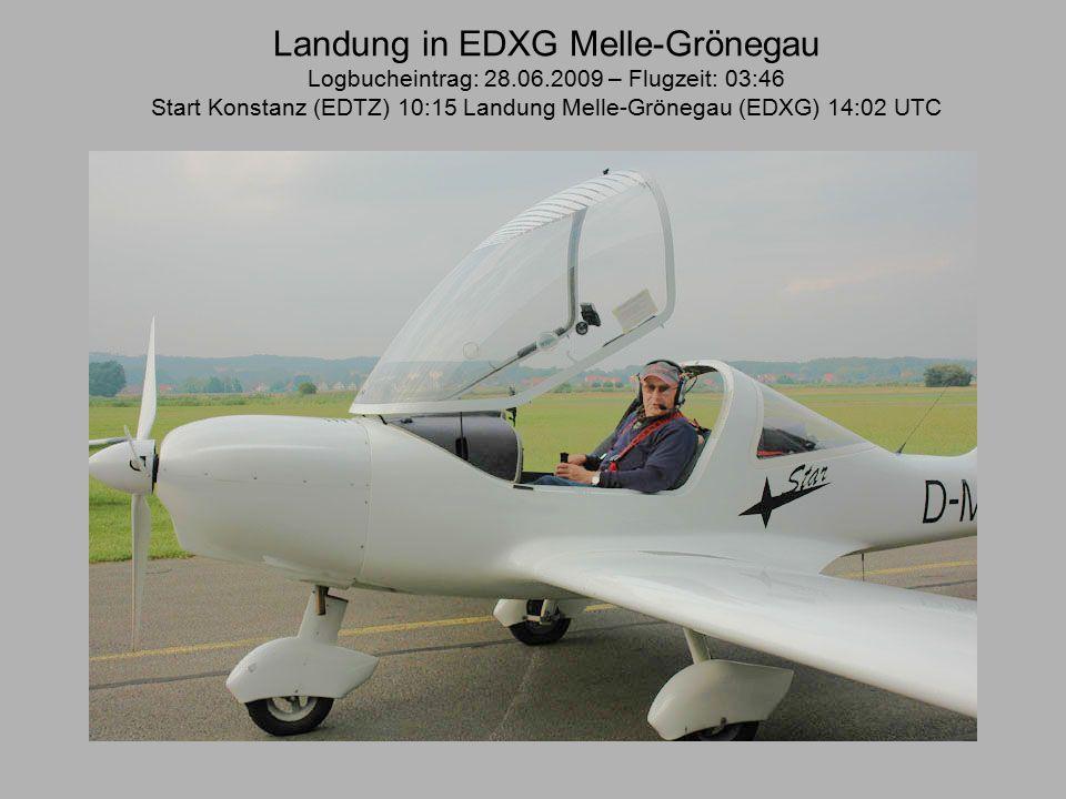Landung in EDXG Melle-Grönegau Logbucheintrag: 28.06.2009 – Flugzeit: 03:46 Start Konstanz (EDTZ) 10:15 Landung Melle-Grönegau (EDXG) 14:02 UTC