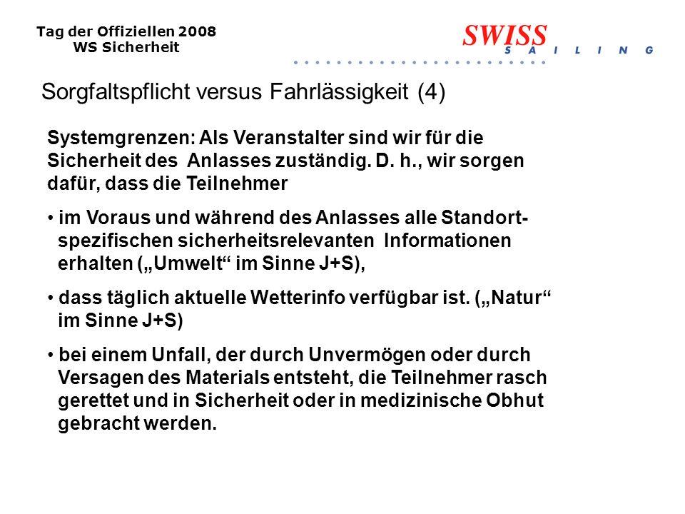Tag der Offiziellen 2008 WS Sicherheit Sorgfaltspflicht versus Fahrlässigkeit (4) Systemgrenzen: Als Veranstalter sind wir für die Sicherheit des Anlasses zuständig.