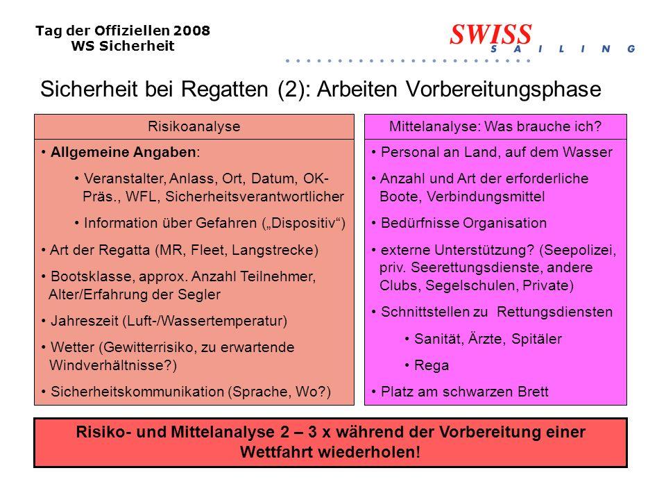 Tag der Offiziellen 2008 WS Sicherheit Sicherheit bei Regatten (3): Arbeiten vor/während Durchführung Wichtige Hinweise: Zur Entlastung des WFL soll – bei grossen Regatten - ein separater Chef Sicherheit bestimmt werden.