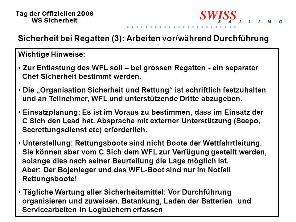Tag der Offiziellen 2008 WS Sicherheit Sicherheit bei Regatten (4): Arbeiten während Durchführung Risikoanalyse (täglich und laufend) Wetter, besondere Gefahren Wo wird gesegelt.
