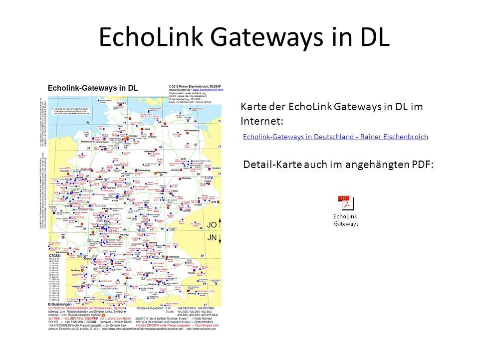 EchoLink Gateways in DL Karte der EchoLink Gateways in DL im Internet: Echolink-Gateways in Deutschland - Rainer Elschenbroich Echolink-Gateways in De