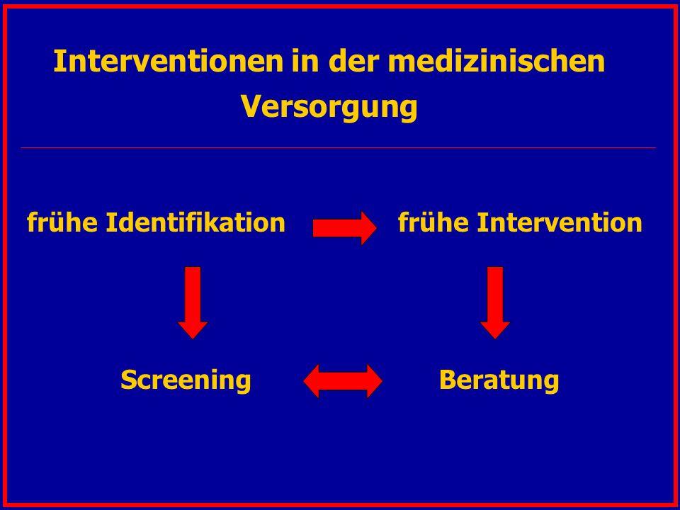 Interventionen in der medizinischen Versorgung frühe Identifikation frühe Intervention Screening Beratung