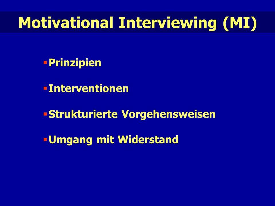 Motivational Interviewing (MI)  Prinzipien  Interventionen  Strukturierte Vorgehensweisen  Umgang mit Widerstand
