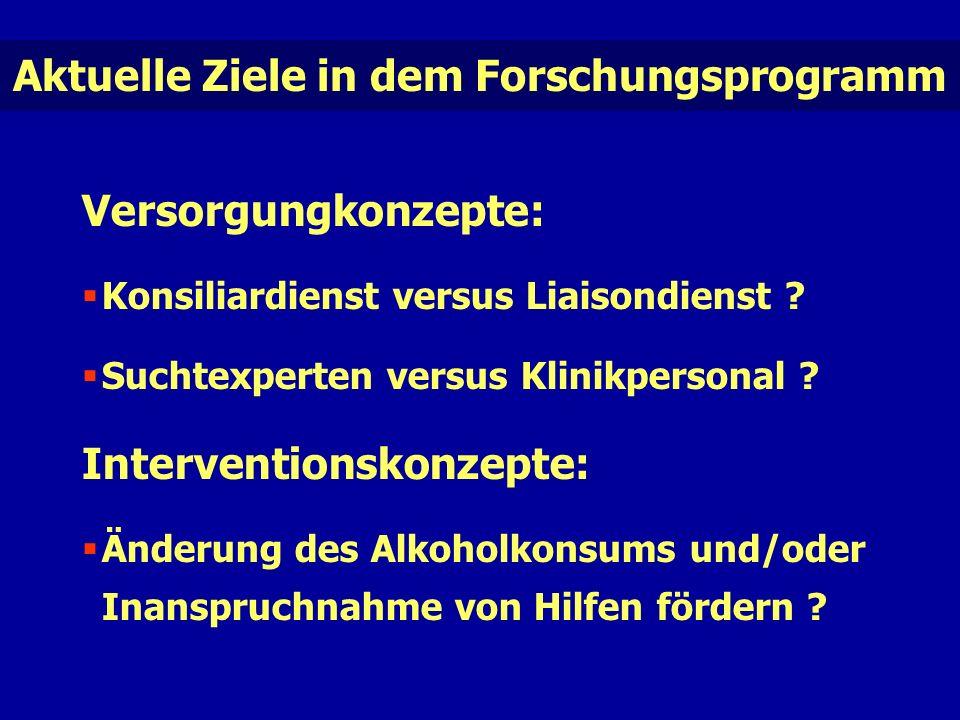 Aktuelle Ziele in dem Forschungsprogramm Versorgungkonzepte:  Konsiliardienst versus Liaisondienst .