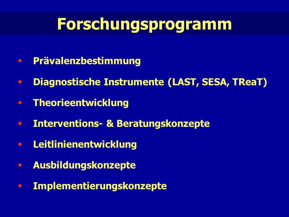 Forschungsprogramm  Prävalenzbestimmung  Diagnostische Instrumente (LAST, SESA, TReaT)  Theorieentwicklung  Interventions- & Beratungskonzepte  Leitlinienentwicklung  Ausbildungskonzepte  Implementierungskonzepte