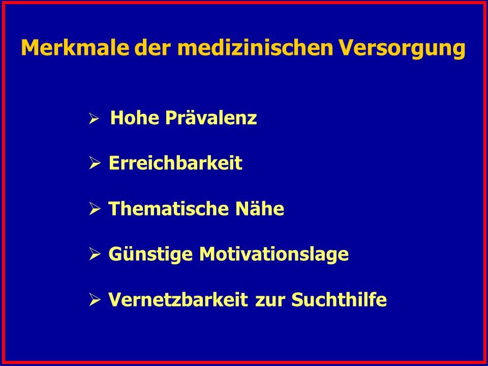 Hohe Prävalenz  Erreichbarkeit  Thematische Nähe  Günstige Motivationslage  Vernetzbarkeit zur Suchthilfe Merkmale der medizinischen Versorgung