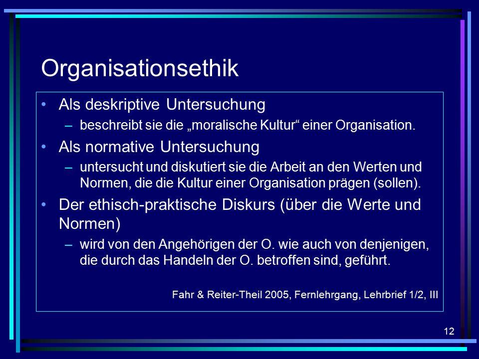 """12 Organisationsethik Als deskriptive Untersuchung –beschreibt sie die """"moralische Kultur einer Organisation."""