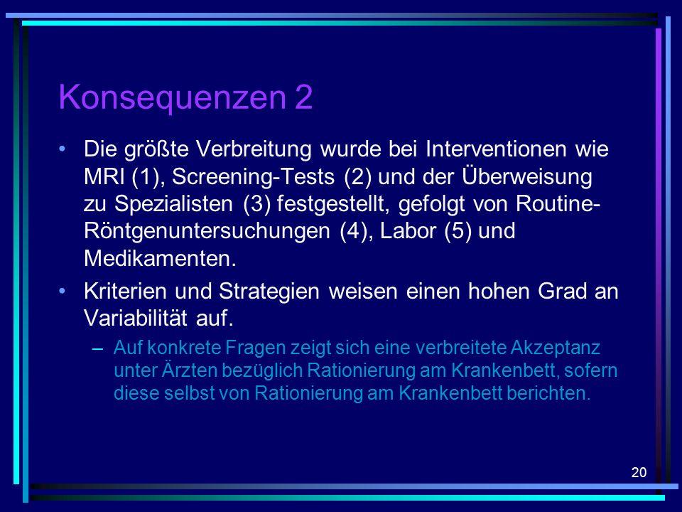 20 Konsequenzen 2 Die größte Verbreitung wurde bei Interventionen wie MRI (1), Screening-Tests (2) und der Überweisung zu Spezialisten (3) festgestellt, gefolgt von Routine- Röntgenuntersuchungen (4), Labor (5) und Medikamenten.