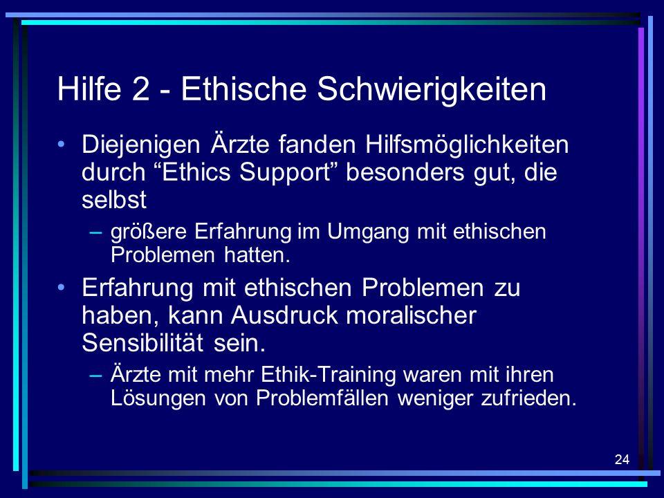 24 Hilfe 2 - Ethische Schwierigkeiten Diejenigen Ärzte fanden Hilfsmöglichkeiten durch Ethics Support besonders gut, die selbst –größere Erfahrung im Umgang mit ethischen Problemen hatten.
