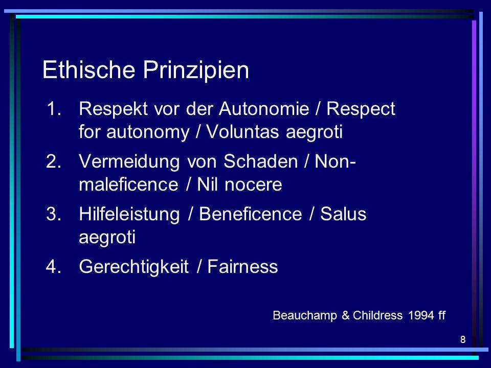 8 Ethische Prinzipien 1.Respekt vor der Autonomie / Respect for autonomy / Voluntas aegroti 2.Vermeidung von Schaden / Non- maleficence / Nil nocere 3.Hilfeleistung / Beneficence / Salus aegroti 4.Gerechtigkeit / Fairness Beauchamp & Childress 1994 ff