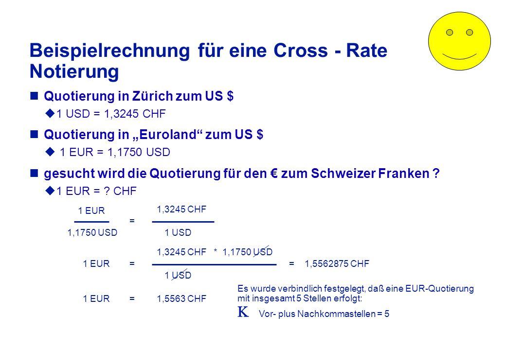 ... Preisnotierung: Fremdwährung: feste Bezugseinheit - Inlandswährung: variable Bezugsgröße Kurs = Preis in Inlandswährung 1; 100 oder 1000 Einheiten