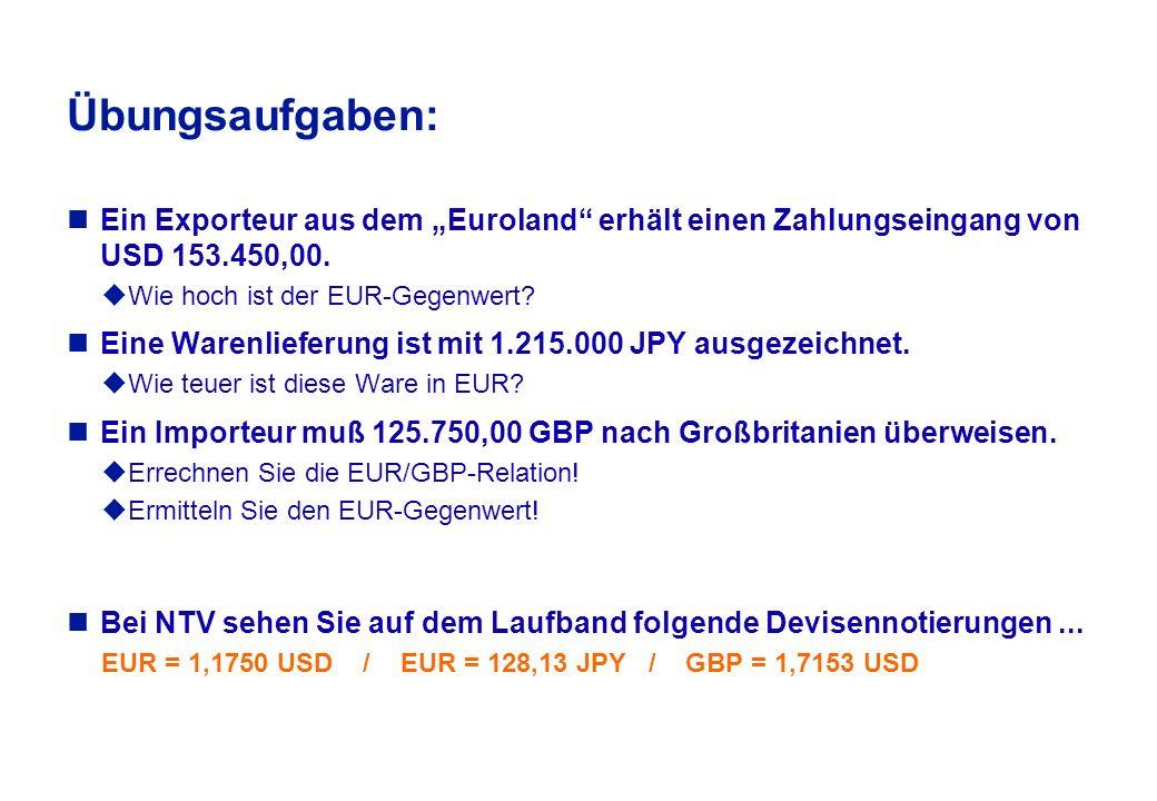 """Beispielrechnung für eine Cross - Rate Notierung Quotierung in Zürich zum US $ u1 USD = 1,3245 CHF Quotierung in """"Euroland zum US $ u 1 EUR = 1,1750 USD gesucht wird die Quotierung für den € zum Schweizer Franken ."""