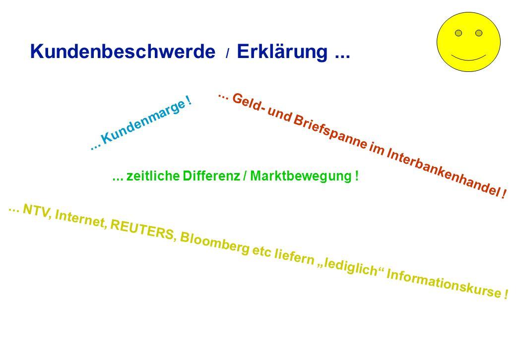 Kundenbeschwerde Der Exporteur beschwert sich, daß nicht der von ihm errechnete Gegenwert seinem EUR-Konto gutgeschrieben wurde zur Erinnerung: uEingang USD 153.450,00 uKurs bei NTV: EUR = 1,1750 USD ukalkulierter Gegenwert: EUR .