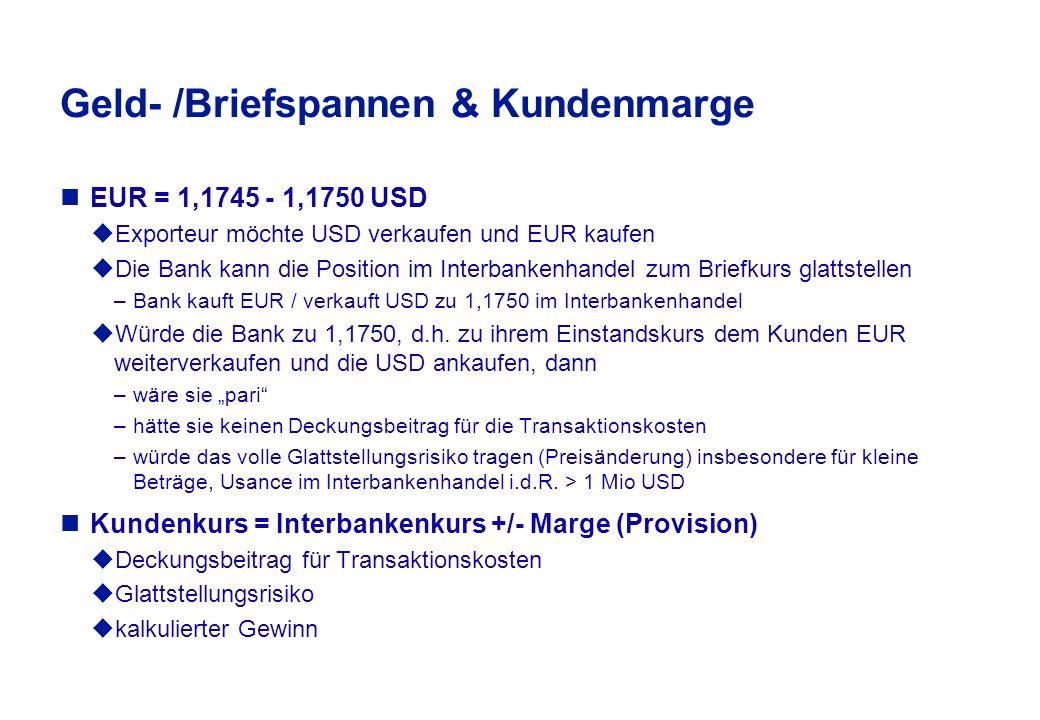 Usance im Interbankenhandel Die angerufene Bank stellt dem Anrufer Kurse, zu denen sie bereit ist, z.