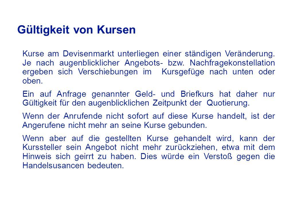 Geld- / Briefspannen & Kundenmarge, z. B.