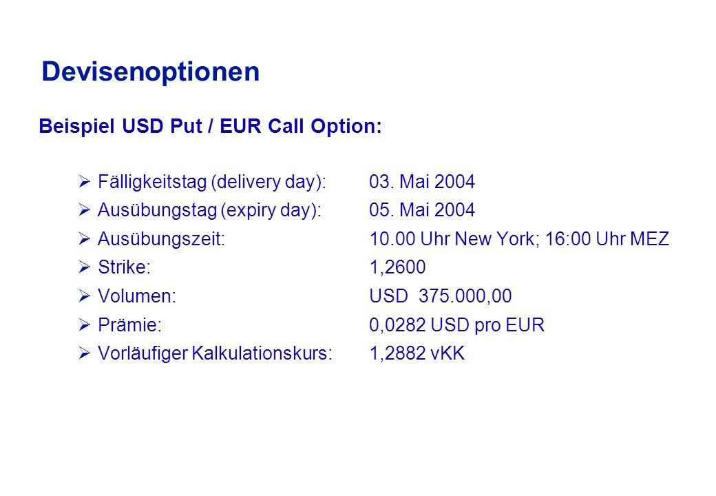 Devisenoption Beispiel: EUR/USD Wann macht die Optionsausübung Sinn.