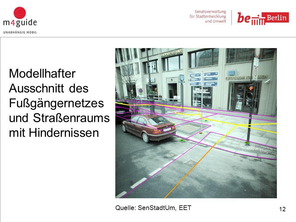 12 Quelle: SenStadtUm, EET Modellhafter Ausschnitt des Fußgängernetzes und Straßenraums mit Hindernissen