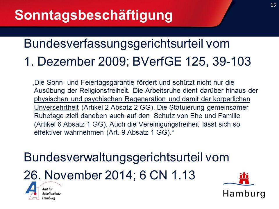 """Bundesverfassungsgerichtsurteil vom 1. Dezember 2009; BVerfGE 125, 39-103 """" Die Sonn- und Feiertagsgarantie fördert und schützt nicht nur die Ausübung"""