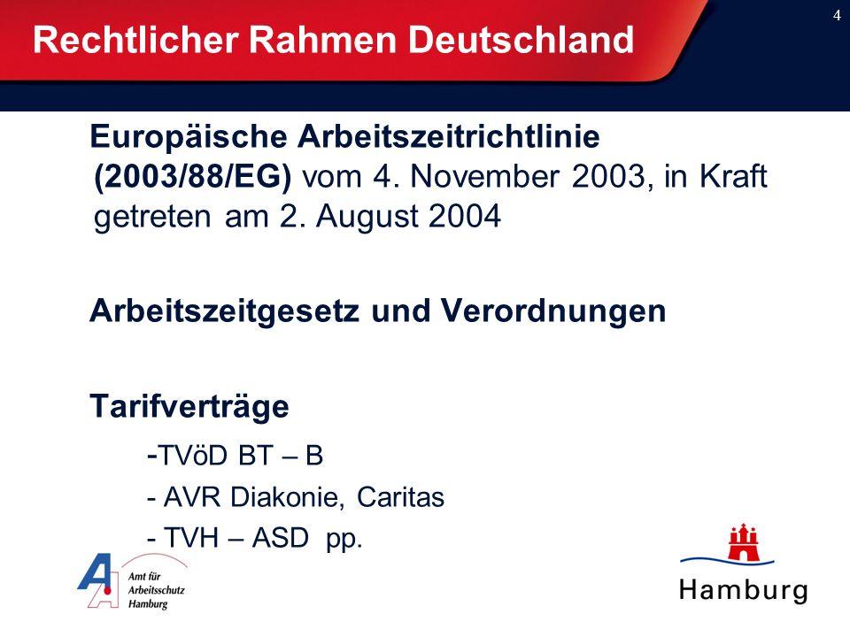 4 Rechtlicher Rahmen Deutschland Europäische Arbeitszeitrichtlinie (2003/88/EG) vom 4. November 2003, in Kraft getreten am 2. August 2004 Arbeitszeitg