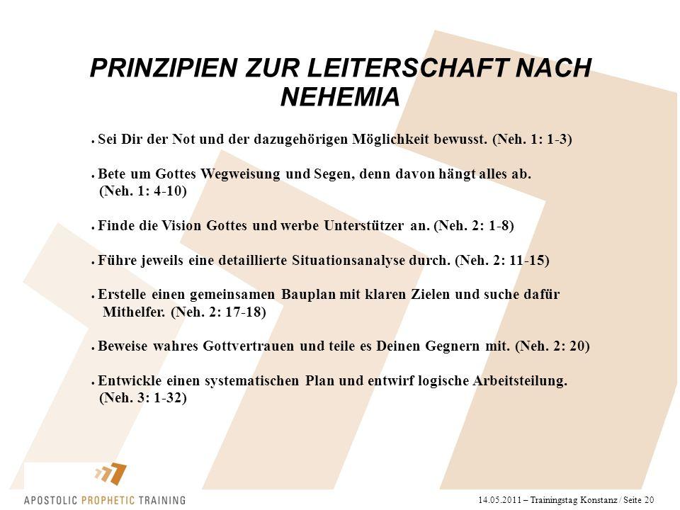 14.05.2011 – Trainingstag Konstanz / Seite 20 PRINZIPIEN ZUR LEITERSCHAFT NACH NEHEMIA  Sei Dir der Not und der dazugehörigen Möglichkeit bewusst. (N