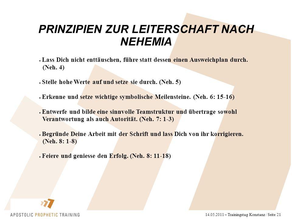 14.05.2011 – Trainingstag Konstanz / Seite 21 PRINZIPIEN ZUR LEITERSCHAFT NACH NEHEMIA  Lass Dich nicht enttäuschen, führe statt dessen einen Ausweic