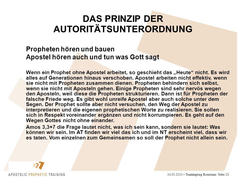 """14.05.2011 – Trainingstag Konstanz / Seite 23 Propheten hören und bauen Apostel hören auch und tun was Gott sagt Wenn ein Prophet ohne Apostel arbeitet, so geschieht das """"Heute nicht."""