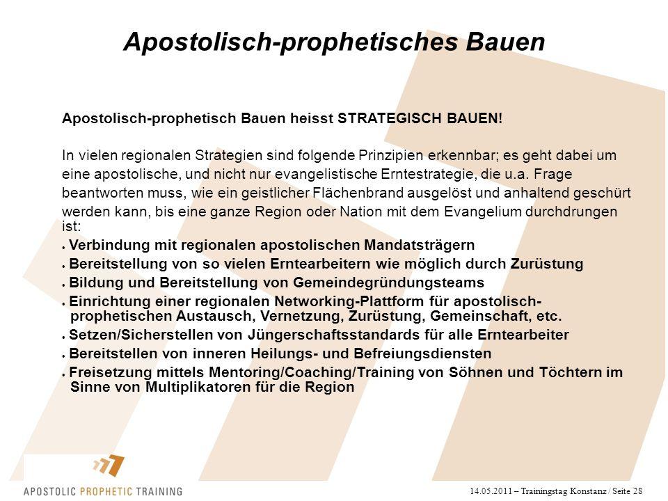 14.05.2011 – Trainingstag Konstanz / Seite 28 Apostolisch-prophetisch Bauen heisst STRATEGISCH BAUEN! In vielen regionalen Strategien sind folgende Pr