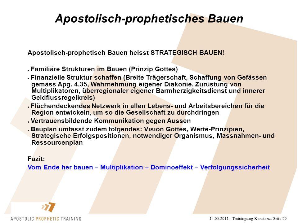 14.05.2011 – Trainingstag Konstanz / Seite 29 Apostolisch-prophetisch Bauen heisst STRATEGISCH BAUEN!  Familiäre Strukturen im Bauen (Prinzip Gottes)